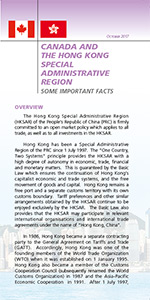 CANADA AND HONG KONG SPECIAL ADMINISTRATIVE REGION SOME IMPORTANT FACTS booklet